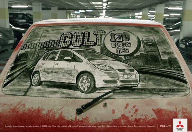 Scott Wade. Рисунки на грязных машинах. Реклама Mitsubishi