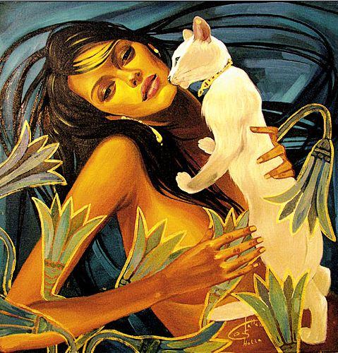 Fattah Hallah Abdel. Египетские картины. Девушка в лотосах. 80х80. Холст масло