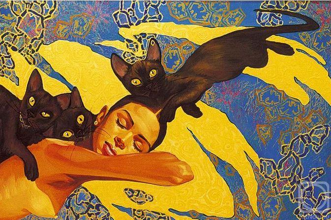 Fattah Hallah Abdel. Египетские картины. Золотой сон. 120х90. Холст масло