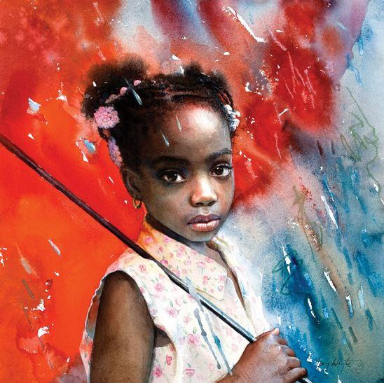 Mary Whyte. Портреты акварелью. Красный зонт. 14х14 дюймов. Бумага акварель