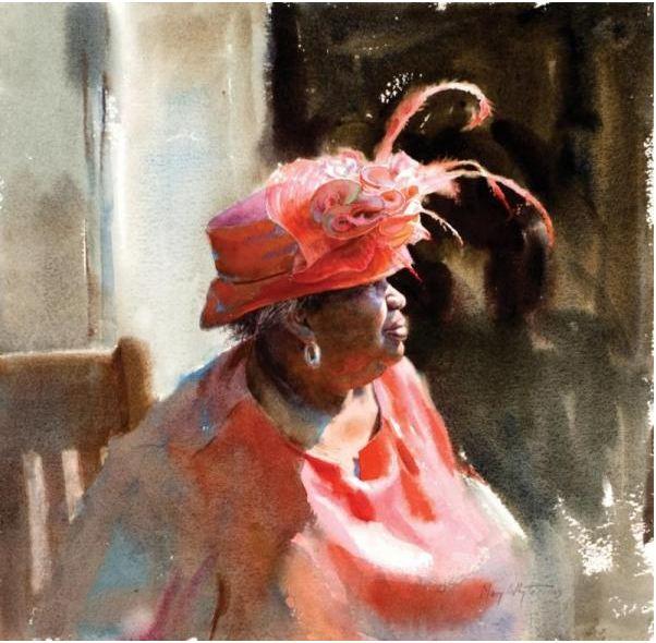 Mary Whyte. Портреты акварелью. Red. 18х18 дюймов. Бумага акварель