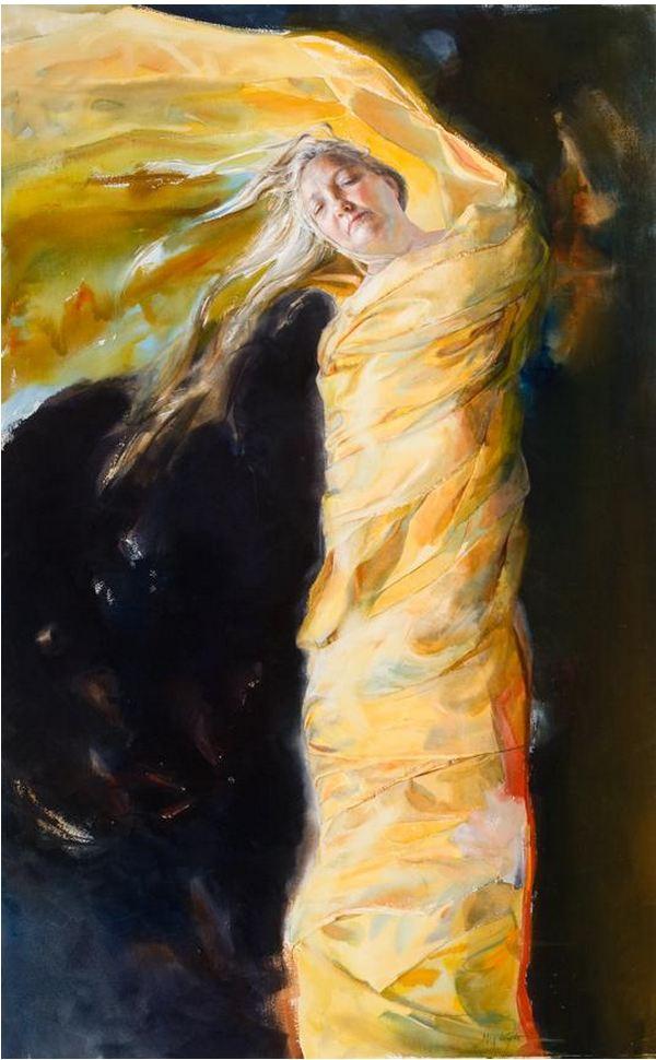 Mary Whyte. Портреты акварелью. Shroud. 58х36 дюймов. Бумага акварель