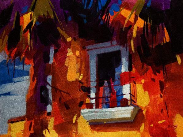 Mike Svob. Пейзажи акрилом. A Tropical Window. 12х16 дюймов. Акрил, холст