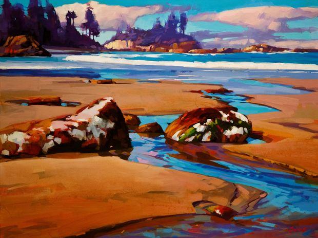Mike Svob. Пейзажи акрилом. Raincoast Beach Pattern. 18х24 дюймов. Акрил, холст