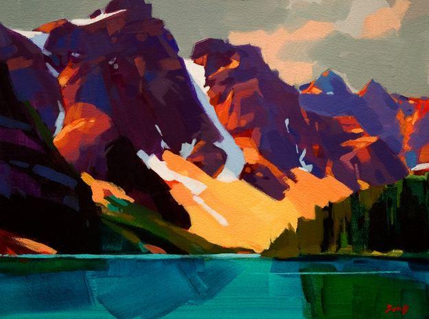 Mike Svob. Пейзажи акрилом. Valley of the Ten Peaks. 12х16 дюймов. Акрил, холст