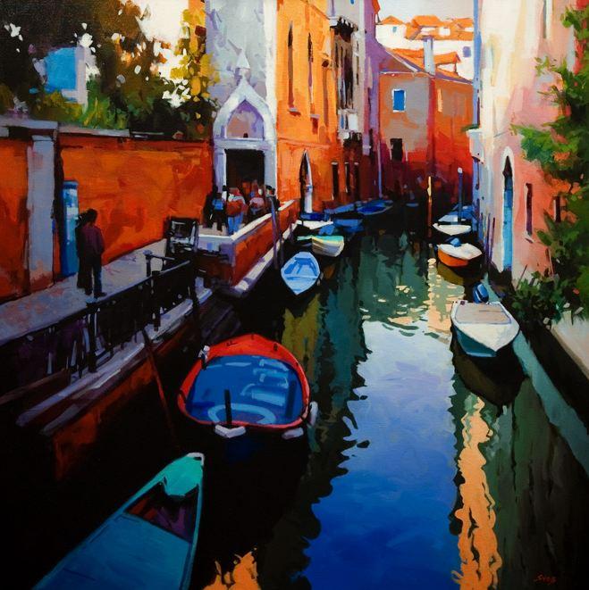 Mike Svob. Пейзажи акрилом. Venetian Reflections. 36х36 дюймов. Акрил, холст