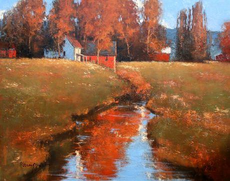Romona Youngquist. Американский пейзаж в живописи. After The Rain. 48х60 дюймов. Масло