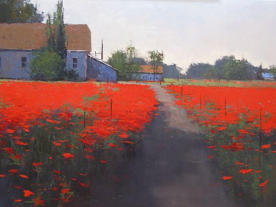 Romona Youngquist. Американский пейзаж в живописи. Мак Farm. 30х40 дюймов. Масло
