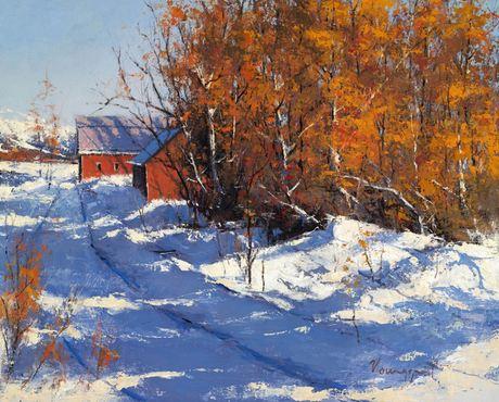 Romona Youngquist. Американский пейзаж в живописи. Snowed In. 24х30 дюймов. Масло