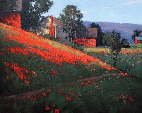 Romona Youngquist. Американский пейзаж в живописии. Quaker Farm. 48х60 дюймов. Масло