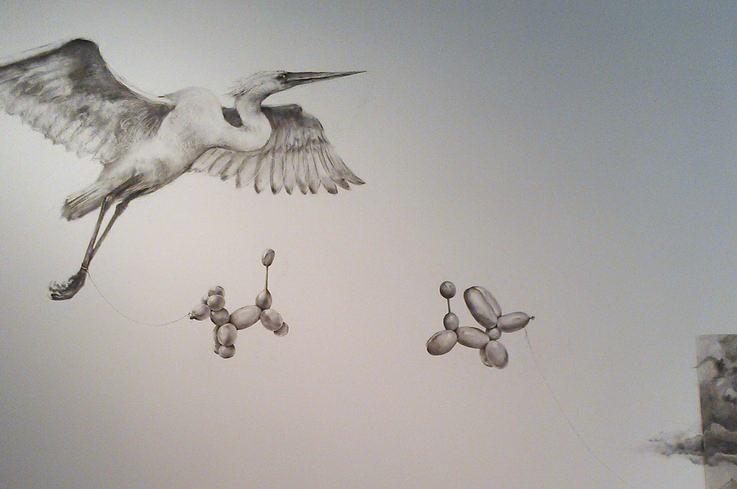 ArtPrize 2012. Adonna Khare и ее большие рисунки. Слоны. Дорисованное на стене