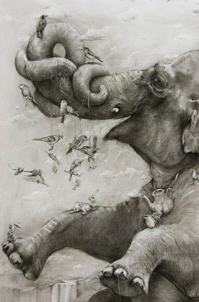 ArtPrize 2012. Adonna Khare и ее большие рисунки. Слоны. Фрагмент четвертый