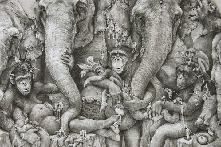 ArtPrize 2012. Adonna Khare и ее большие рисунки. Слоны. Фрагмент первый
