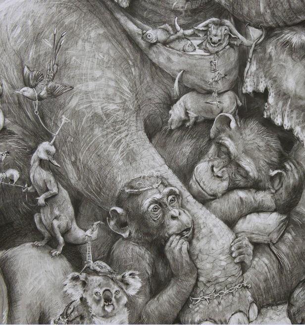 ArtPrize 2012. Adonna Khare и ее большие рисунки. Слоны. Фрагмент пятый