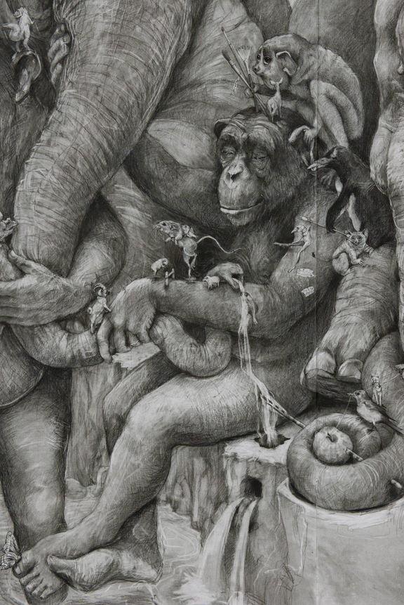 ArtPrize 2012. Adonna Khare и ее большие рисунки. Слоны. Фрагмент третий