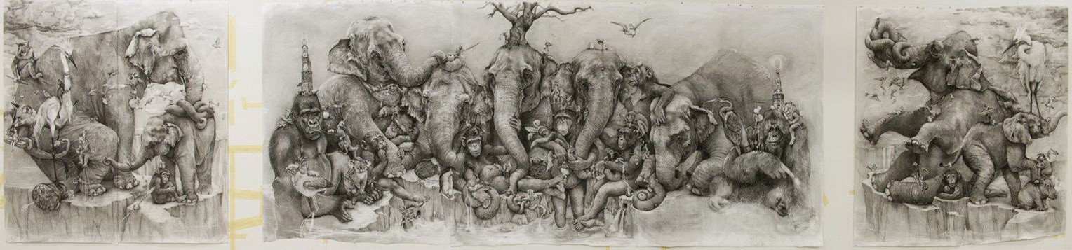 ArtPrize 2012. Adonna Khare и ее большие рисунки. Слоны. Почти весь рисунок