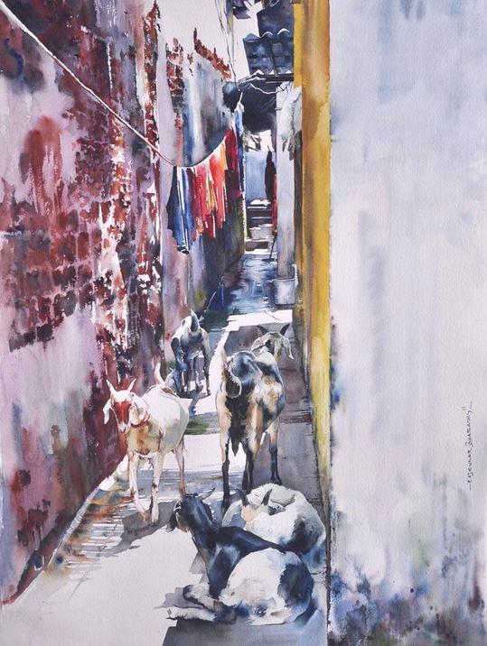 Индийский художник  Rajkumar Sthabathy.  Акварель четвертая