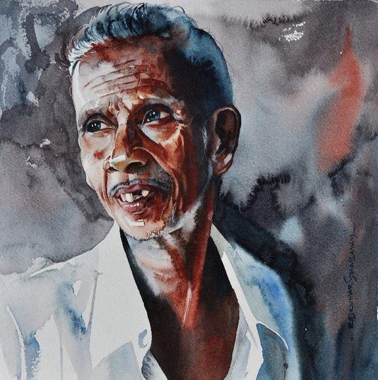 Индийский художник  Rajkumar Sthabathy.  Акварель четырнадцатая