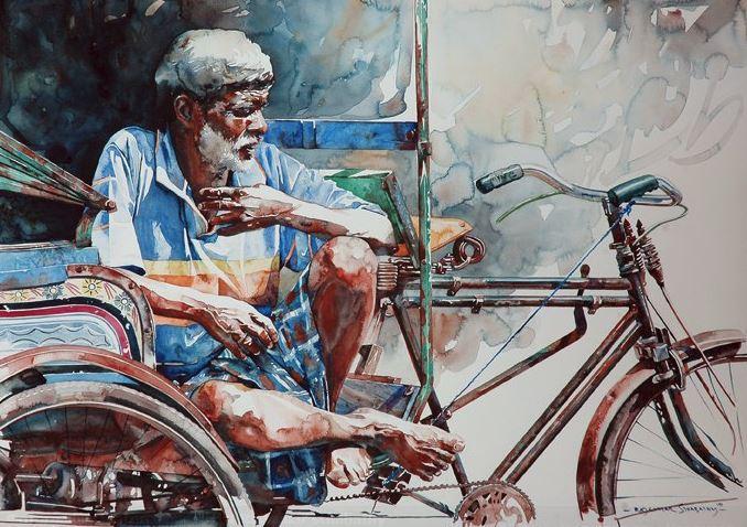 Индийский художник  Rajkumar Sthabathy.  Акварель девятая