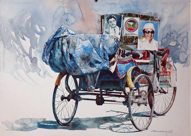 Индийский художник  Rajkumar Sthabathy.  Акварель девятнадцатая