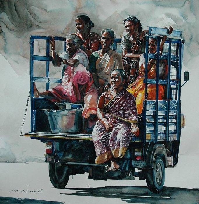 Индийский художник Rajkumar Sthabathy. Акварель двадцать вторая
