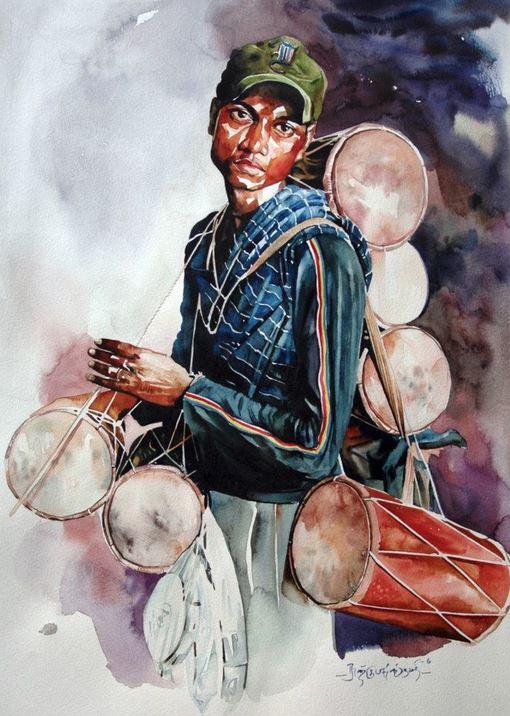 Индийский художник  Rajkumar Sthabathy.  Акварель двенадцатая