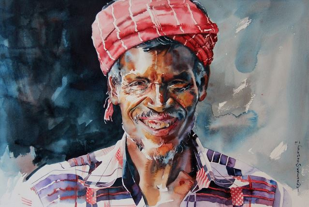 Индийский художник Rajkumar Sthabathy. Акварел первая