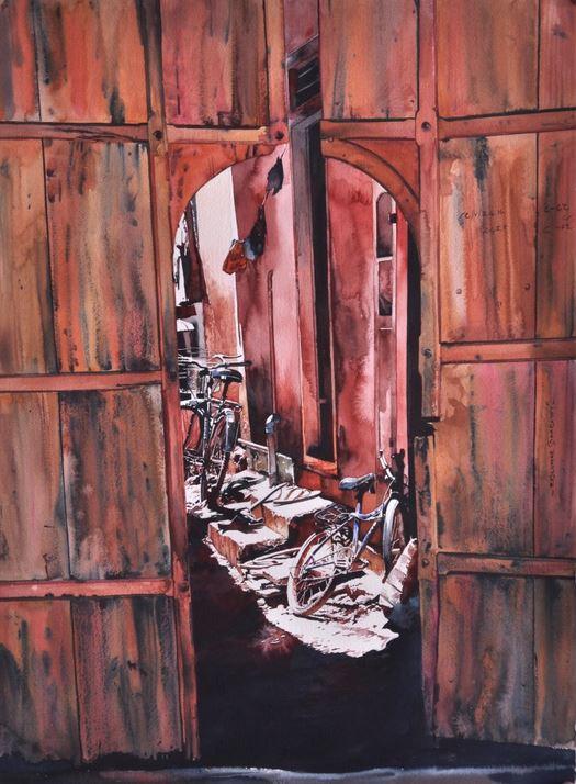 Индийский художник  Rajkumar Sthabathy.  Акварель пятая