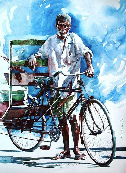 Индийский художник  Rajkumar Sthabathy.  Акварель седьмая