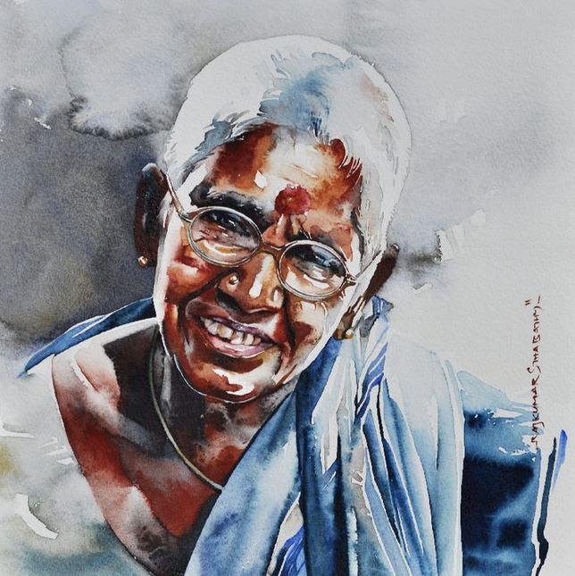 Индийский художник  Rajkumar Sthabathy.  Акварель семнадцатая