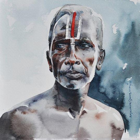Индийский художник  Rajkumar Sthabathy.  Акварель тринадцатая