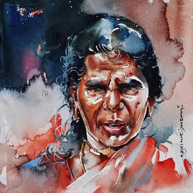 Индийский художник  Rajkumar Sthabathy.  Акварель восемнадцатая