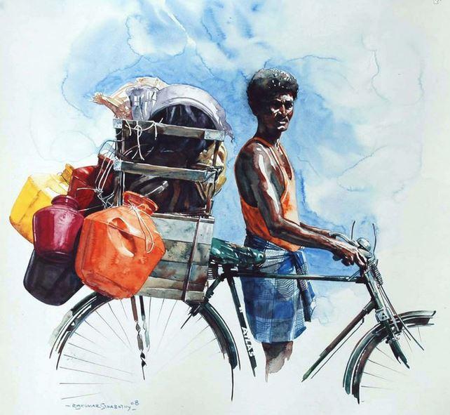 Индийский художник  Rajkumar Sthabathy.  Акварель восьмая