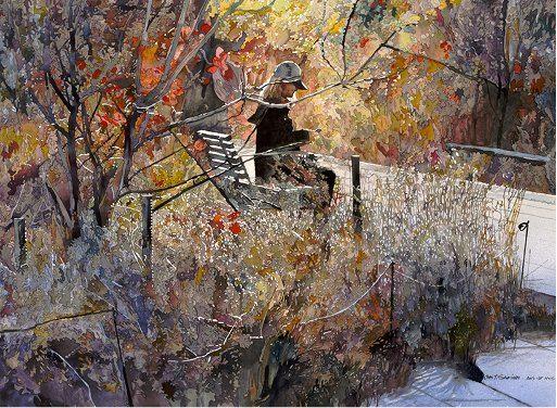 John Salminen. Картины акварелью. Autumn High Line. 24х36 дюймов