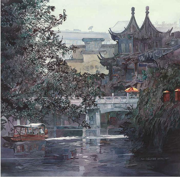 John Salminen. Картины акварелью. Nanjing. 35х36 дюймов