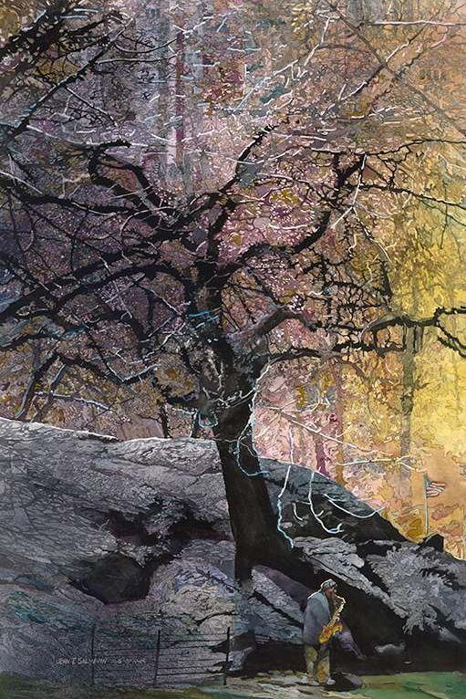 John Salminen. Картины акварелью. Осень в Нью-Йорке. 36х24 дюйма