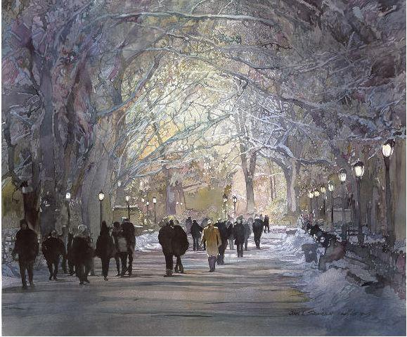 John Salminen. Картины акварелью. The Mall - Central Park. 30х35 дюймов