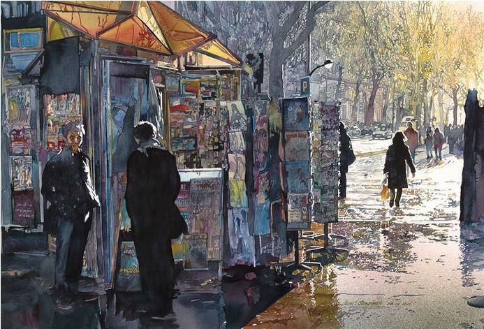 John Salminen. Картины акварелью. Утро в Париже. 24х36 дюймов