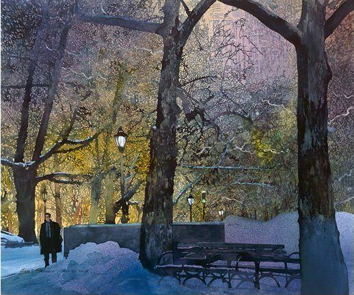 John Salminen. Картины акварелью. Зима в Центральном парке. 25х30 дюймов