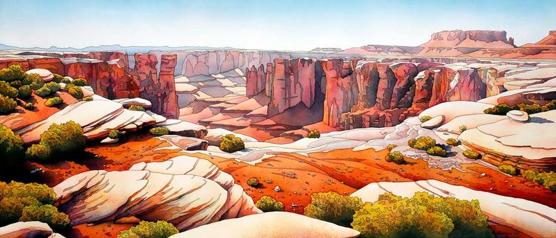Jonathan Frank. Нестандартные пейзажи акварелью. Into The Vast . 17х39 дюймов