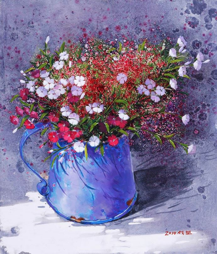 Корейский художник Yi Seong-bu. Натюрморт с цветами. Картина пятая