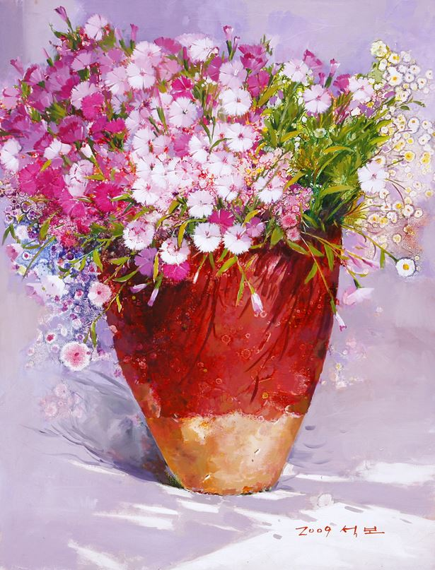 Корейский художник Yi Seong-bu. Натюрморт с цветами. Картина пятнадцатая