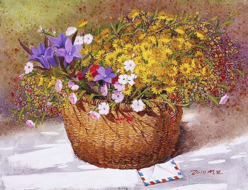 Корейский художник Yi Seong-bu. Натюрморт с цветами. Картина третья