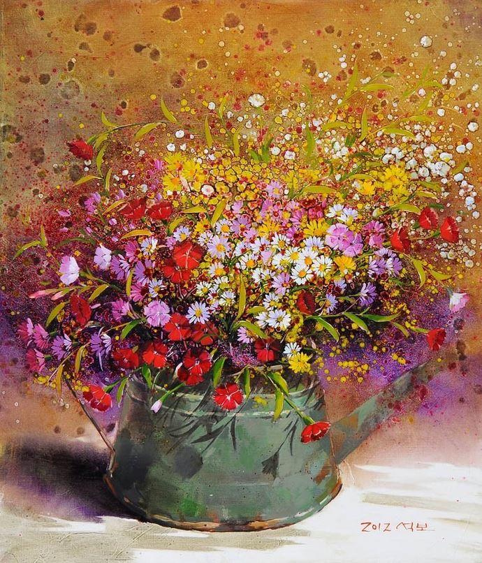 Корейский художник Yi Seong-bu. Натюрморт с цветами. Картина тринадцатая