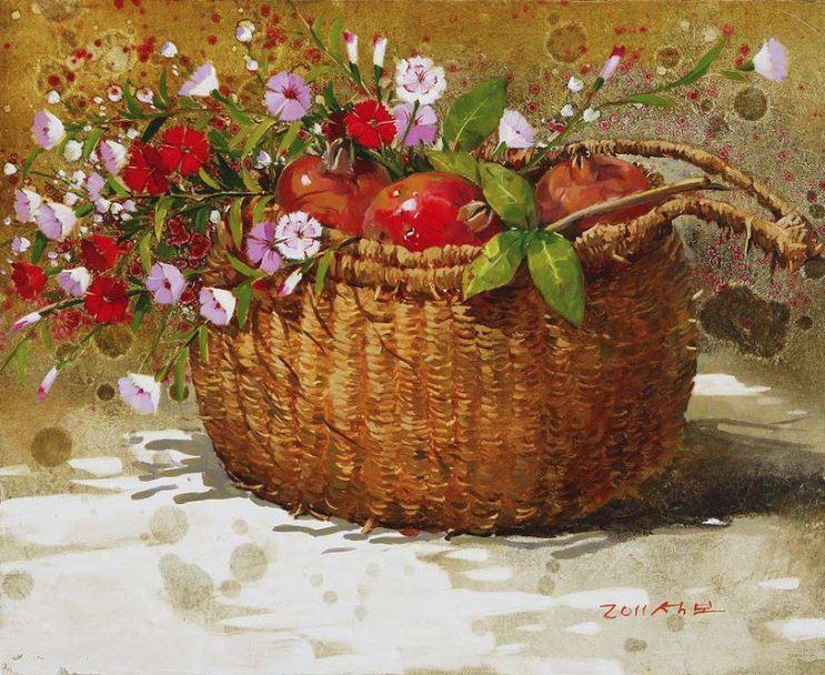 Корейский художник Yi Seong-bu. Натюрморт с цветами. Картина восьмая
