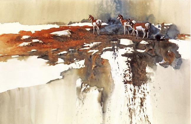 Morten E. Solberg. Животные акварелью. Wyoming Winter