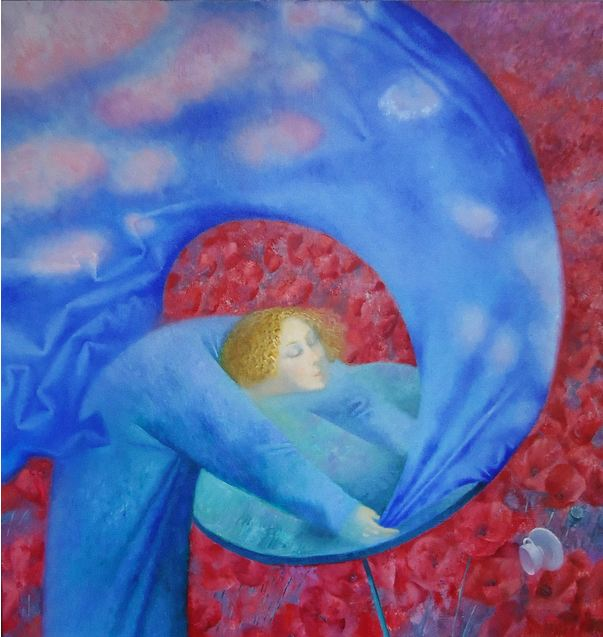 Павел Антипов и его философские картины. Чай на маковом поле. 100х95. Холст, масло 2012