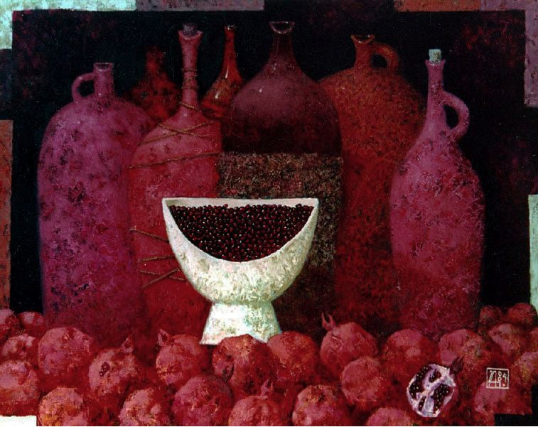 Павел Антипов и его философские картины. Гранатовый сок. 100х80 Холст, масло 2004