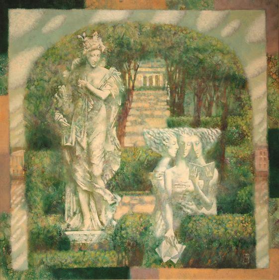 Павел Антипов и его философские картины. Летний сад. 85х85 Холст, масло 2009