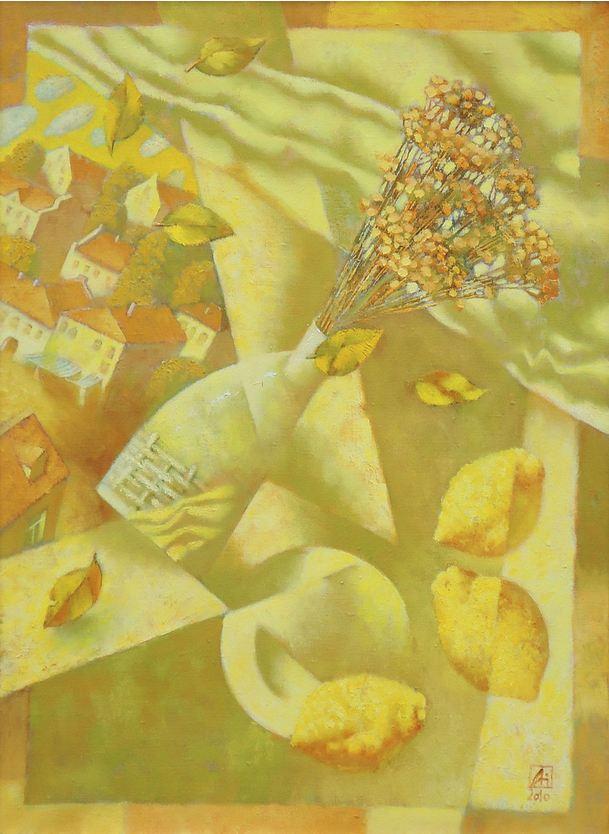 Павел Антипов и его философские картины. Лимонный ветер. 75х55 Холст, масло 2010